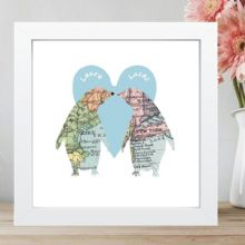 Penguins In Love Vintage Map Framed Print Displaying 2 Locations - Unique Wedding or Anniversary Gift, Romantic Valentine's Day Keepsake